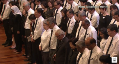 Minute of silence at state funeral. Photo from PMO