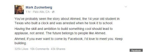 Mark Zuckerberg's Facebook status in response to Ahmed's arrest