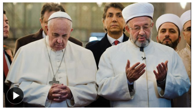 Pope Francis in the Blue Mosque, head bowed in prayer facing direction of Mecca. Photo: AFP