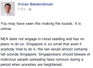 Minister Vivian's Facebook post about the offending viral message