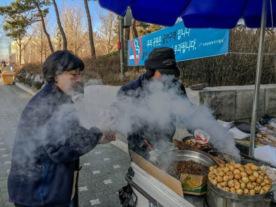 "PM's caption: ""Met this street hawker in Seoul selling roasted chestnuts, steamed peanuts, dried cuttlefish and silkworm pupae. (We went for the chestnuts.) Just the thing for a cold day!"""