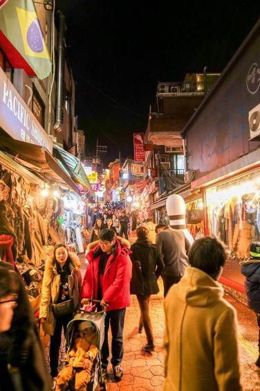 A busy side street in Itaewon where PM Lee had dinner. He said it's a busy and vibrant district.