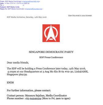 SDP's media invite